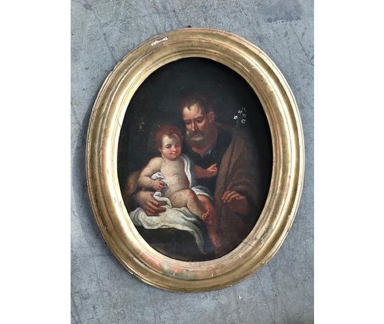 "Dipinto ad Olio su Tela raffigurante ""S. Giuseppe con Bambino"" - Conservato"