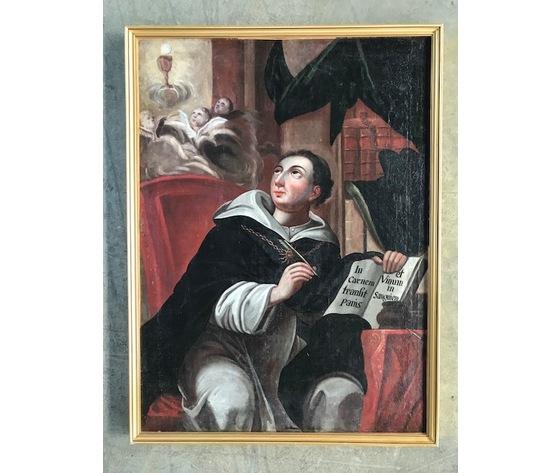 Dipinto ad Olio su Tela-Alta Epoca-Raffigurante Santo in adorazione - Conservato