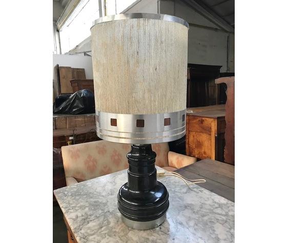 Lampada Anni '50 con base in ceramica nera - Impianto ricondizionato