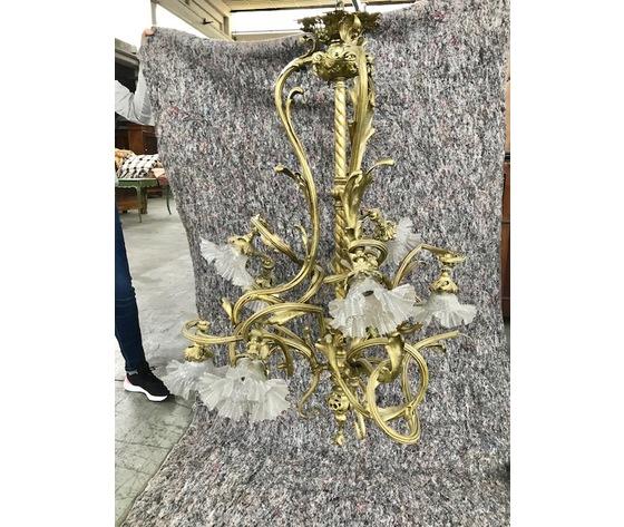 Lampadario Liberty in Bronzo dorato a 9 luci - Restaurato (in corso d'opera)