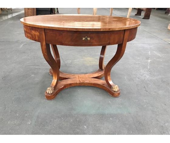 Elegante tavolo ovale Impero in Mogano - Restaurato (in corso d'opera)