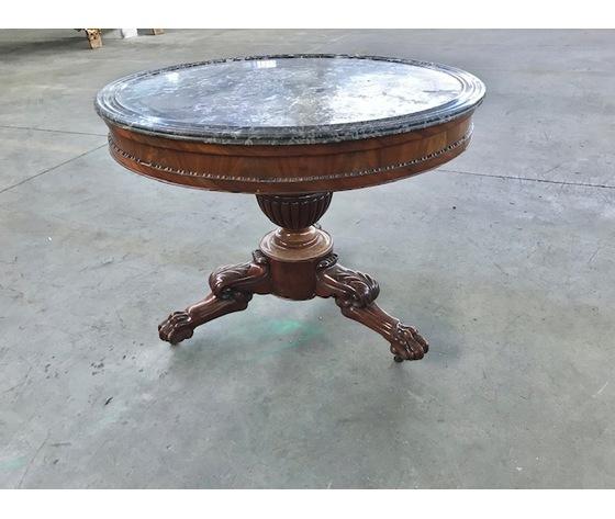 Elegante tavolino rotondo  Carlo X in Mogano - Restaurato (in corso d'opera)