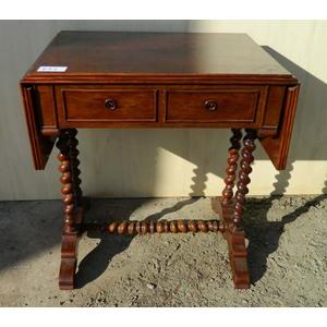 Antico Tavolino o Scrittoio con Alette in Mogano - Restaurato