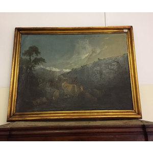 Antico Quadro ad Olio Raffigurante Paesaggio Con Gregge