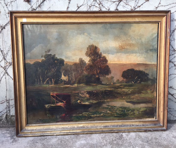 Dipinto ad olio raffigurante Paesaggio  Cornice originale