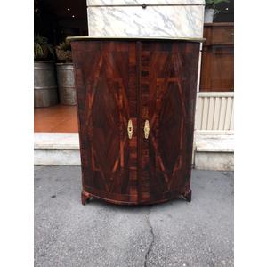 Importante Angoliera lastronata in Palissandro  Bordo del piano in ottone - Restaurata