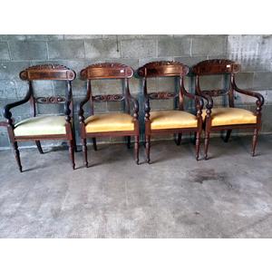 Serie di 4 Eleganti ed Antiche Poltrone Carlo X Genovesi in Mogano