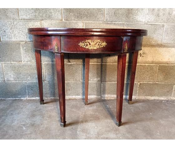 Antico Tavolino da Gioco Impero a Mezzaluna - Restaurato (in corso d'opera)