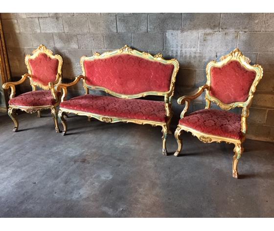 Antico ed Elegante Salotto/Divano e 2 Poltrone Luigi XV Laccato e Dipinto