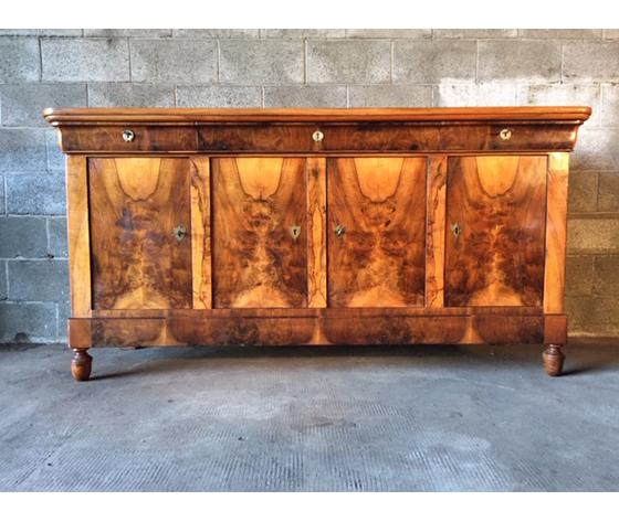 Antica ed Elegante Credenza Carlo X in Noce e Piuma di Noce - Restaurata