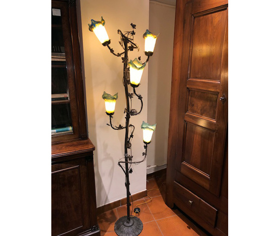 Elegante Lampada Liberty a Piantana a 5 Tulipe - Ricondizionata