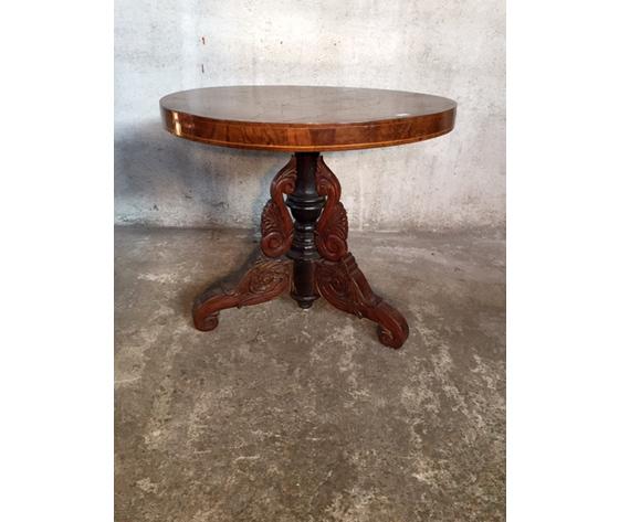 Antico ed Elegante Tavolino Rotondo a Vaia Carlo X - Restaurato (in corso d'opera)