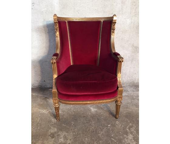 Antica ed Elegante Poltrona Luigi XVI in Legno Dorata a Foglia Bordeaux