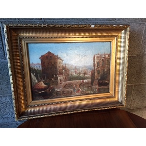 """Dipinto ad Olio su Legno """"Borgo Francese"""" di Guichara Joseph Bonoit"""