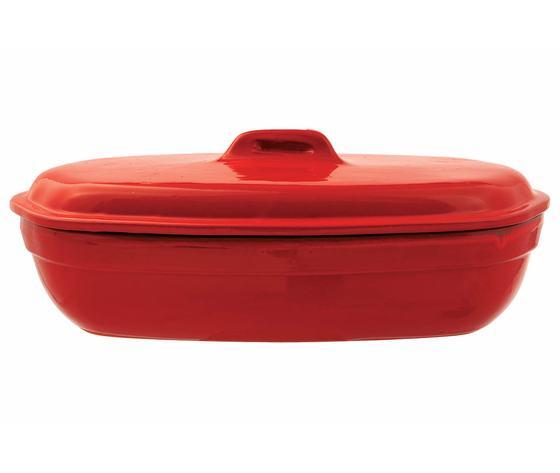 pirofile rossa con coperchio per arrosti al forno o fiamma diretta