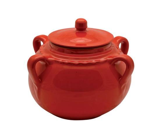 Pentola per legumi in terracorra smaltata in un bel color rosso.