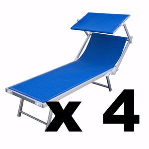 quattro lettini mare in alluminio