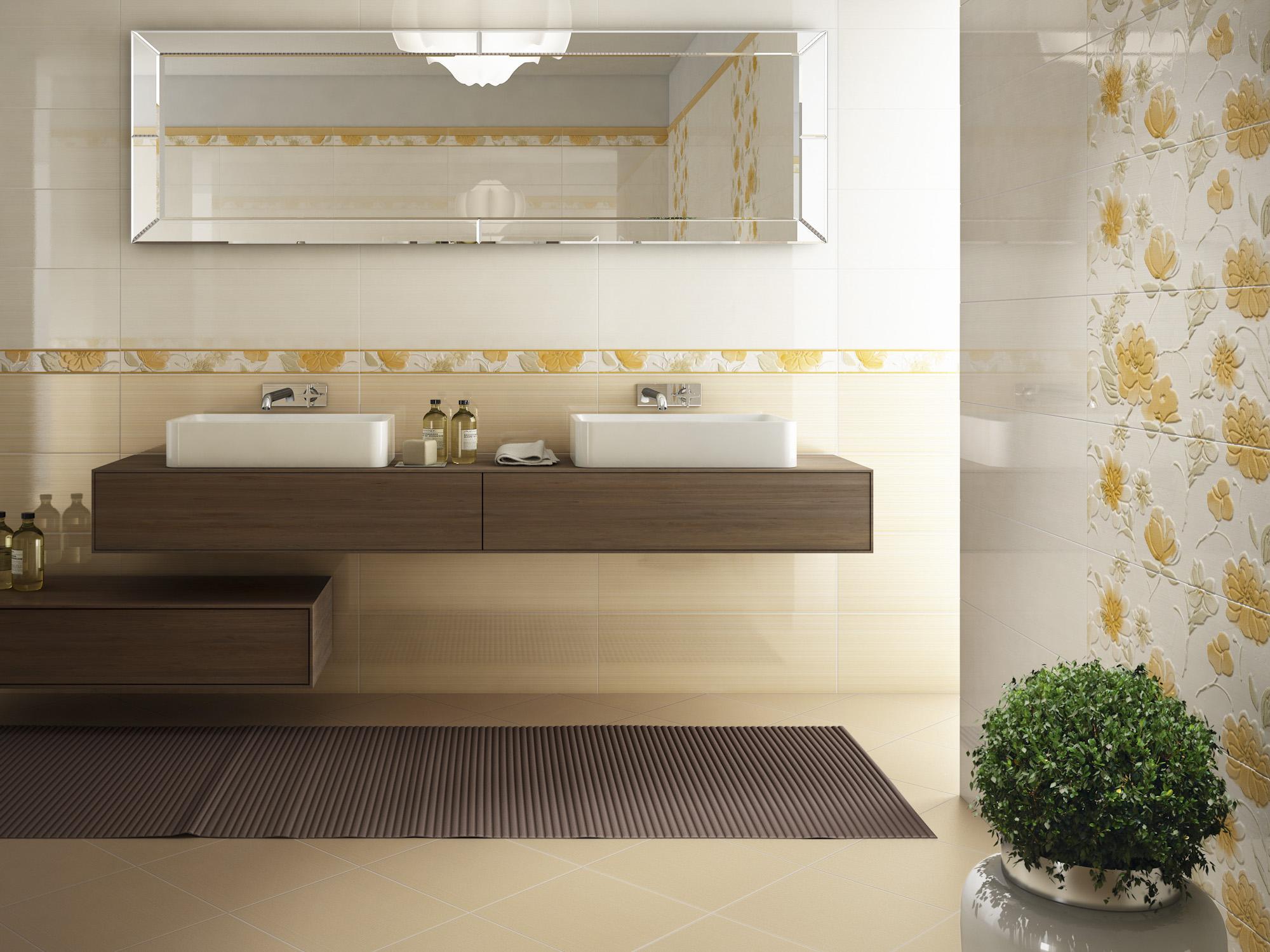 Piastrelle bagno con fiori in rilievo piastrelle per bagno con