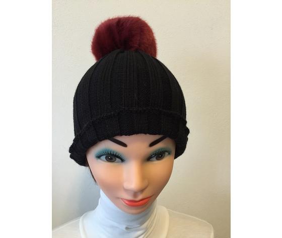 Berretto lana nera + pom  pon eco pelo rosso