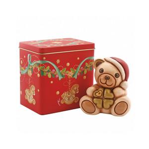 Teddy con quadrifoglio + scatola in latta