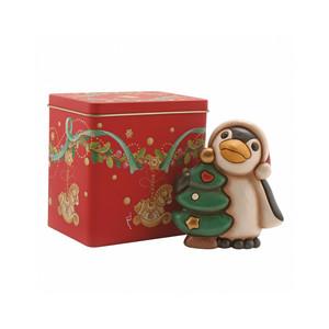 Pinguino con albero di natale + scatola in latta