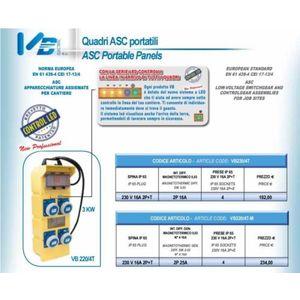 QUADRETTO ASC 220/4T-M C/SALV+MAGN.LED ART. VB220/4T-M 2.0400/02