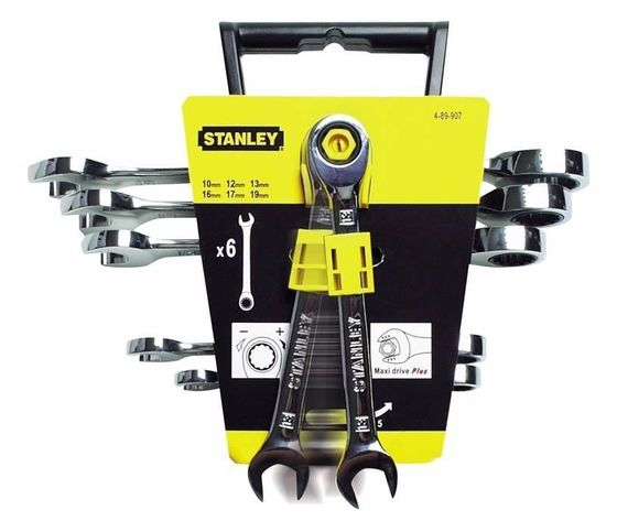 Stanley 4-89-907 Set Kit Chiavi Combinate 6pz Cricchetto 10 -19mm maxi ST489907