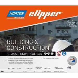 Disco diamantato Clipper Norton Saint Gobain Classic 230 mm. 100505/n