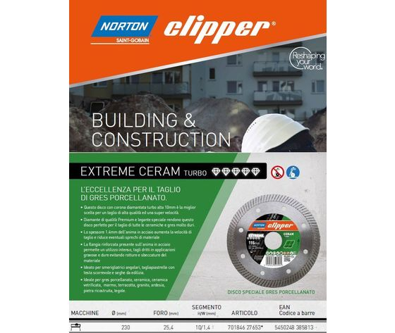 Disco diamantato Clipper Norton Extreme Ceram TURBO 230 mm.  100503/n