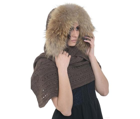 Sciarpa lana yakwool con cappuccio bordato in racoon
