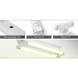 Plafoniere aperte per tubo LED 600 mm 2pz-6053