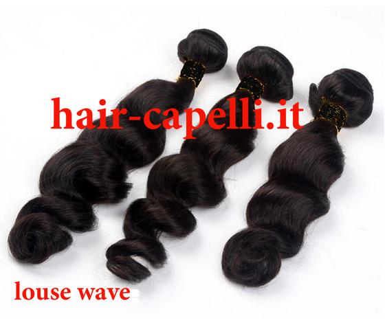 """capelli vergine onda tonda """"louse"""" india 55 cm"""