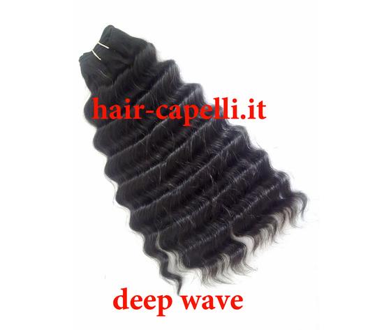 """capelli vergine riccio """"deep wave"""" india 40 cm"""