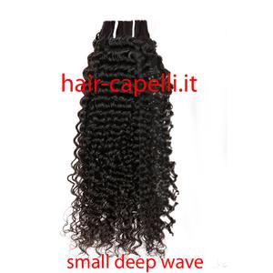 """capelli vergine riccio piccolo """"deep wave small"""" india 55 cm"""