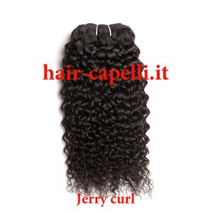 """capelli vergine riccio piccolo """"jerry curl"""" india 40 cm"""