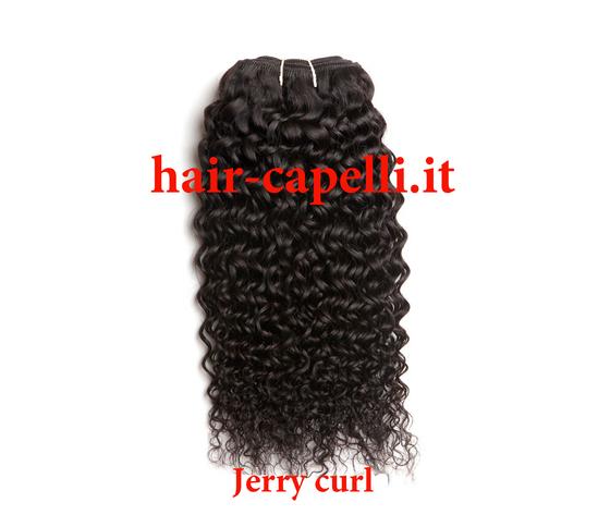 """capelli vergine riccio piccolo """"jerry curl"""" india 55 cm"""