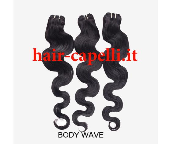 "capelli vergine onda piatta ""body wave"" india 20 cm"