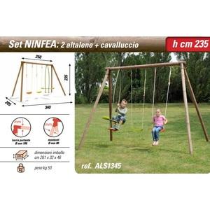 Altalena in legno Ninfea: 2 altalene + cavalluccio New Plast
