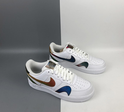 Nike air force 1 misplaced swooshes white multi color for sale 4