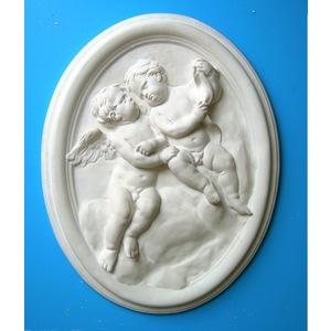 Bassorilievo in gesso - Ovale Angeli  (Prodotto laccato bianco)