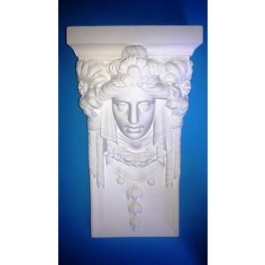 Volto Donna Liberty Mensola-Capitello in gesso  (Prodotto laccato bianco)