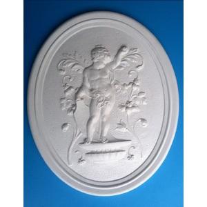 Bassorilievo in gesso - Figura maschile con natura  (Prodotto laccato bianco)