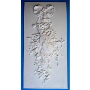 Bassorilievo in gesso - Violino Ornato  (Prodotto laccato bianco)