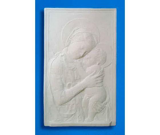 Bassorilievo in gesso - Madonna con bimbo  (Prodotto laccato bianco)