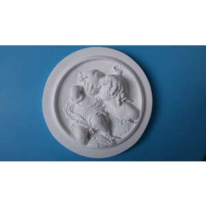 Bassorilievo in gesso - Tondo con figure  (Prodotto laccato bianco)