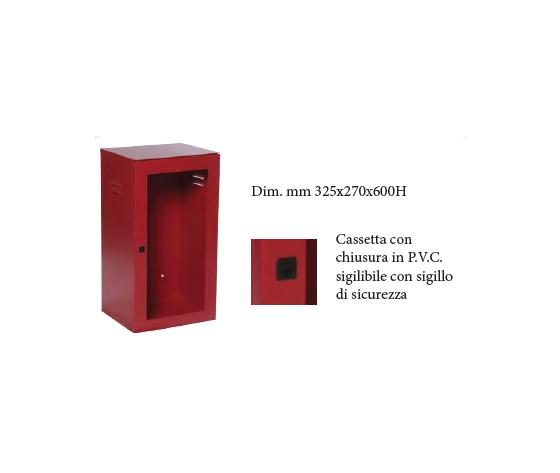 CASSETTA P. ESTINTORE KG. 6 INOX CON PORTELLO PER LASTRA SAFE WINDOW