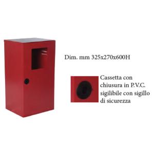 CASSETTA P. ESTINTORE KG. 6 INOX CON PORTELLO PIENO E FINESTRA DI ISPEZIONE CON CHIUSURA SIGILLABILE