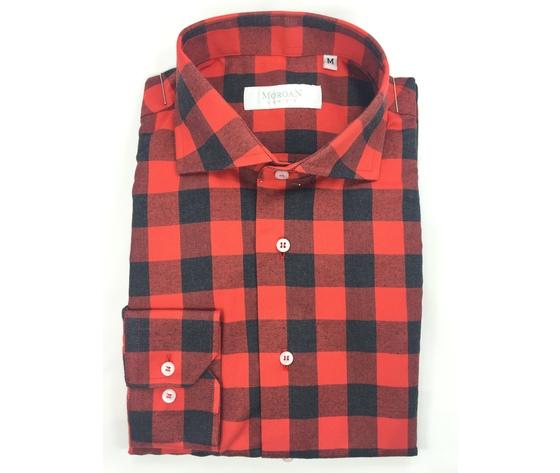 Camicia super slim rosso/nero