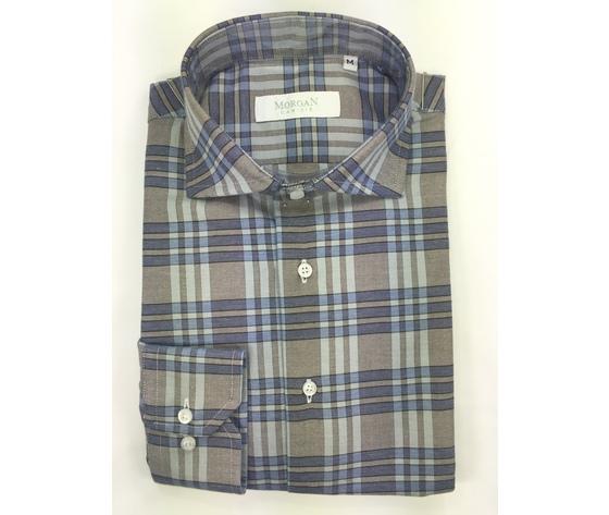 Camicia super slim grigio/blu