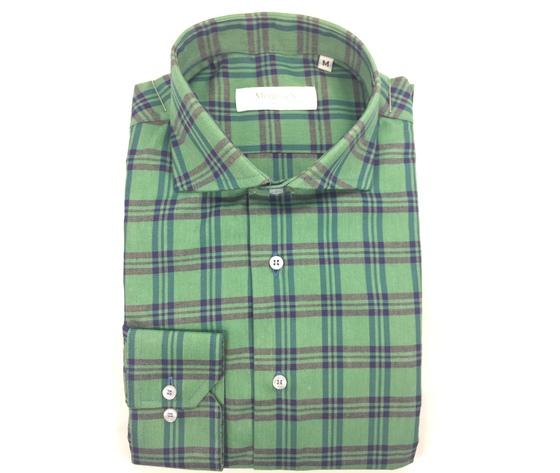 Camicia super slim verde/blu